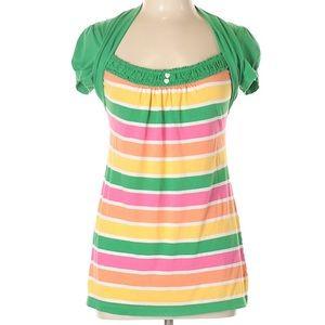 🛍 FANG Kelly green rainbow stripe tee, ❤️ button